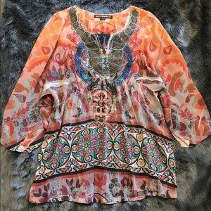Mushka Sienna Rose Boho Shirt Blouse size Medium
